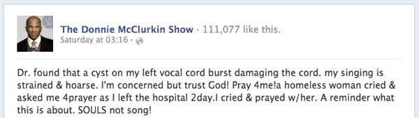 Facebook statement from Donnie McClurkin