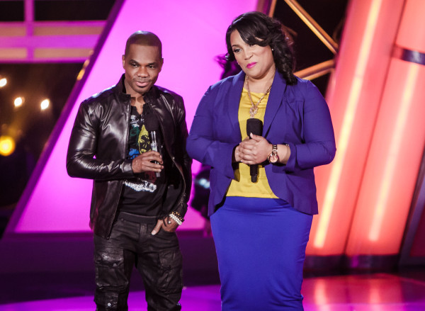 Host Kirk Franklin with Tasha on the BET Sunday Best stage