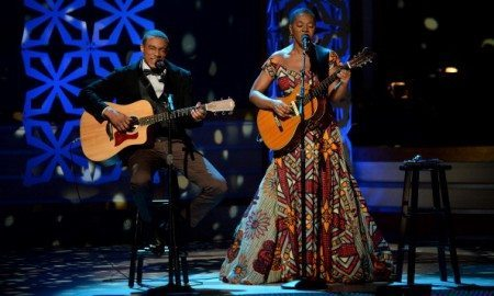 LOS ANGELES, CA - MARCH 15:  Singers Jonathan McReynolds (L) and India.Arie perform onstage during BET Celebration of Gospel 2014 at Orpheum Theatre on March 15, 2014 in Los Angeles, California.  (Photo by Jason Kempin/Getty Images for BET)