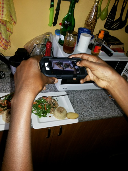 Our host Eyiyemi has this habit of taking a shot of the food she makes.