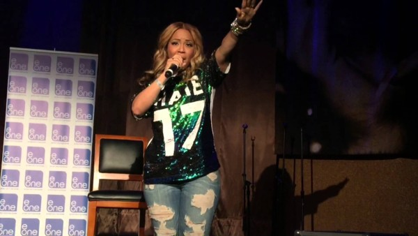 """Erica Campbell performing """"I Luh God"""" at eOneEntertaintment After Party"""