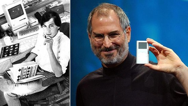 Steve Jobs in 1988; and launching the iPod mini in 2004. Source: Supplied